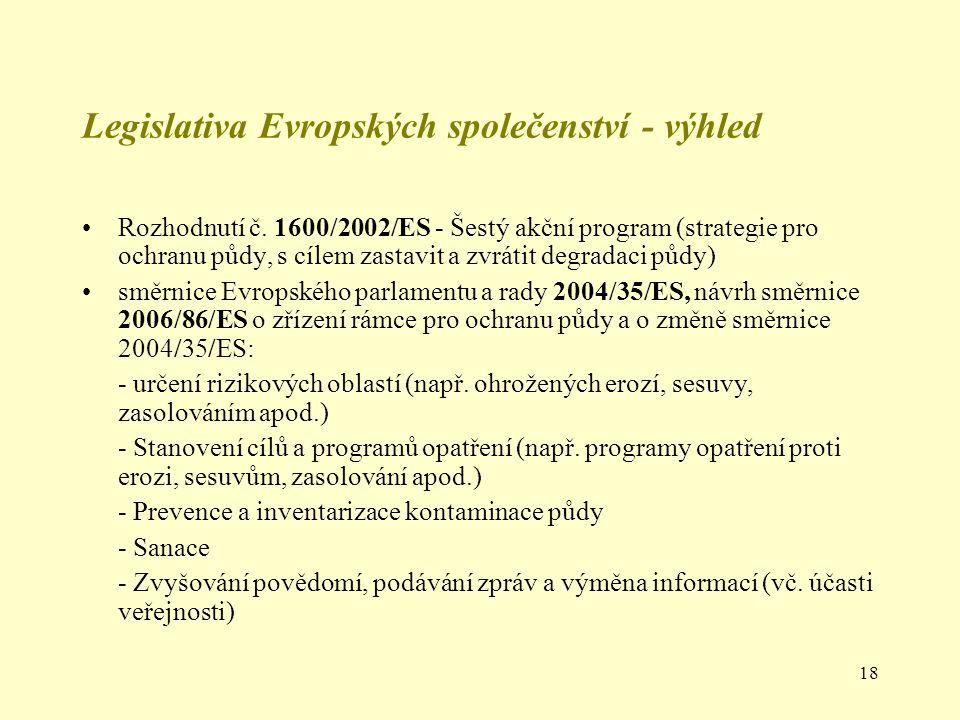 18 Legislativa Evropských společenství - výhled Rozhodnutí č. 1600/2002/ES - Šestý akční program (strategie pro ochranu půdy, s cílem zastavit a zvrát