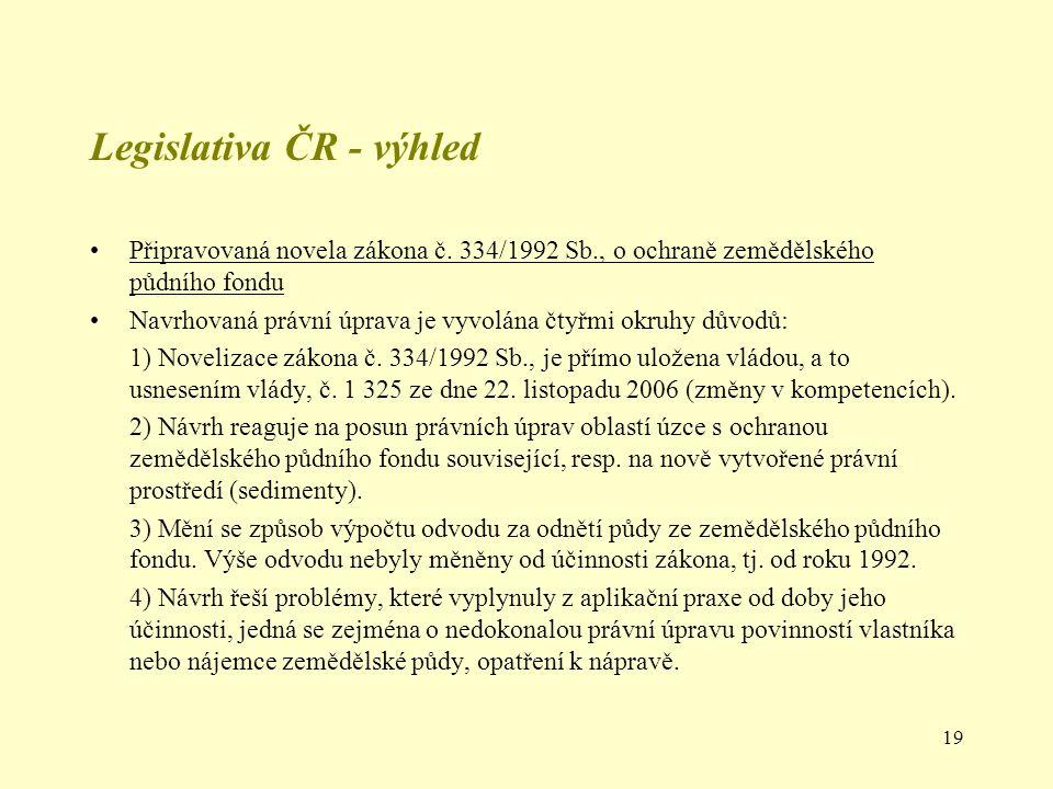 19 Legislativa ČR - výhled Připravovaná novela zákona č. 334/1992 Sb., o ochraně zemědělského půdního fondu Navrhovaná právní úprava je vyvolána čtyřm