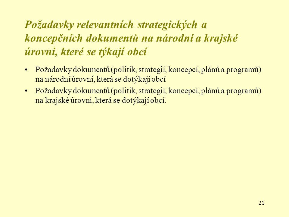 21 Požadavky relevantních strategických a koncepčních dokumentů na národní a krajské úrovni, které se týkají obcí Požadavky dokumentů (politik, strate