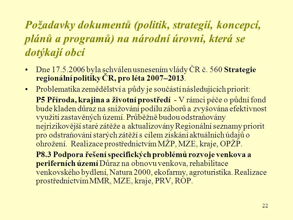 22 Požadavky dokumentů (politik, strategií, koncepcí, plánů a programů) na národní úrovni, která se dotýkají obcí Dne 17.5.2006 byla schválen usnesení