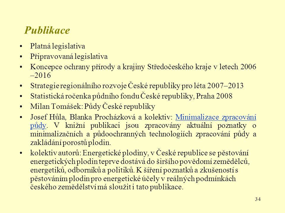 34 Publikace Platná legislativa Připravovaná legislativa Koncepce ochrany přírody a krajiny Středočeského kraje v letech 2006 –2016 Strategie regionál
