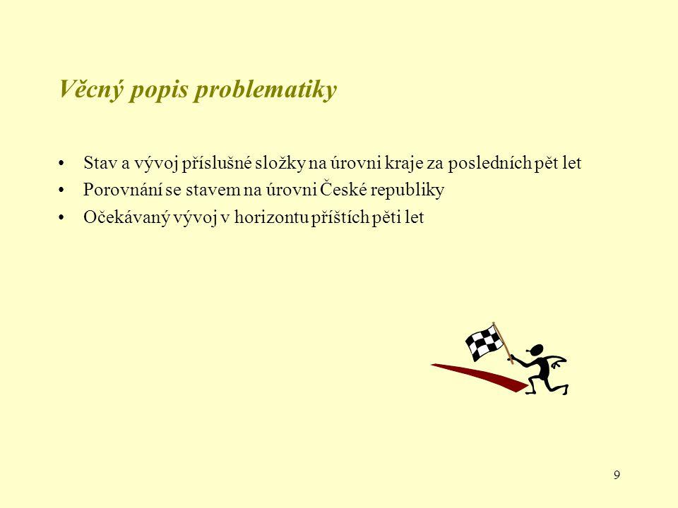 9 Věcný popis problematiky Stav a vývoj příslušné složky na úrovni kraje za posledních pět let Porovnání se stavem na úrovni České republiky Očekávaný