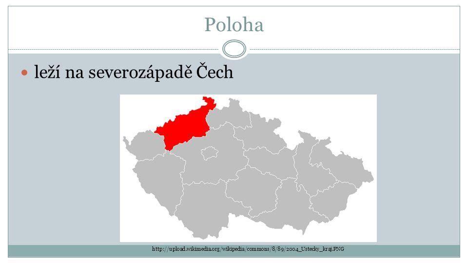 Poloha leží na severozápadě Čech http://upload.wikimedia.org/wikipedia/commons/8/89/2004_Ustecky_kraj.PNG