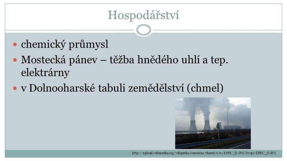 Hospodářství chemický průmysl Mostecká pánev – těžba hnědého uhlí a tep. elektrárny v Dolnooharské tabuli zemědělství (chmel) http://upload.wikimedia.