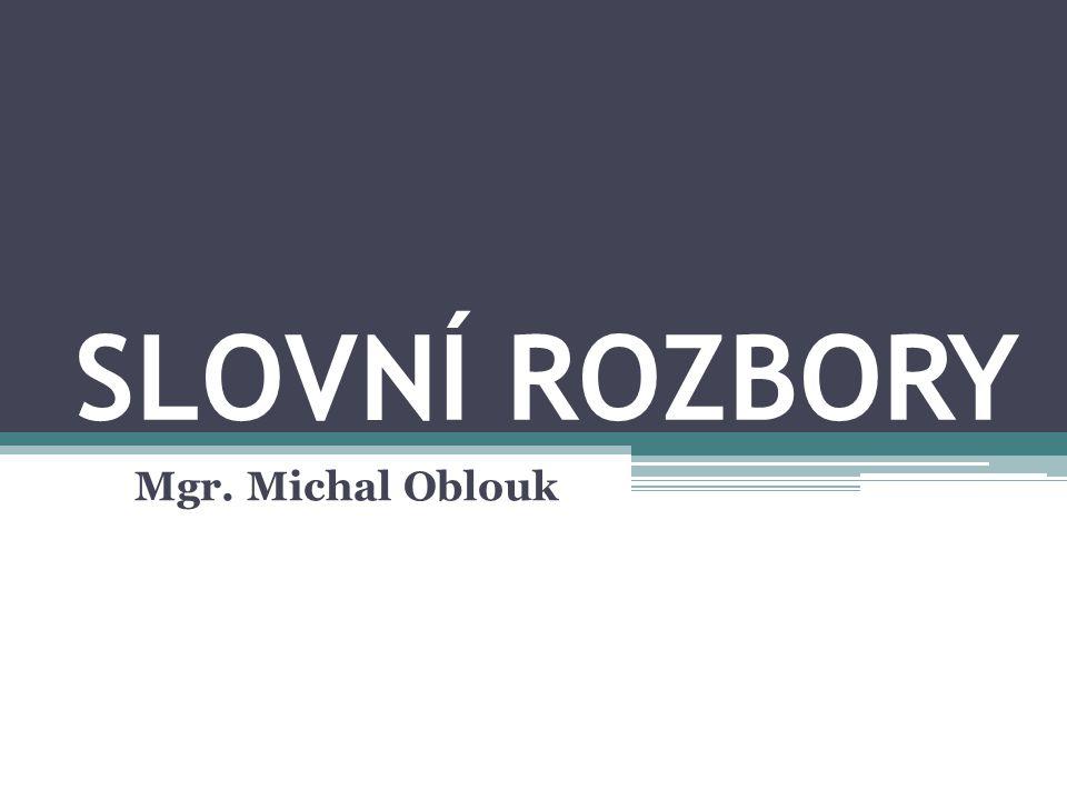 SLOVNÍ ROZBORY Mgr. Michal Oblouk