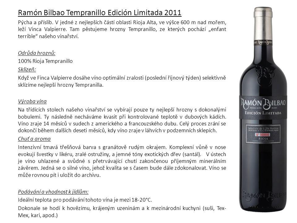 Ramón Bilbao Rosado 2013 Odrůda hroznů: 100% Grenache SKLIZEŇ: Hrozny musely překonat rostoucí cyklus ovlivňující velmi neobvyklé počasí.
