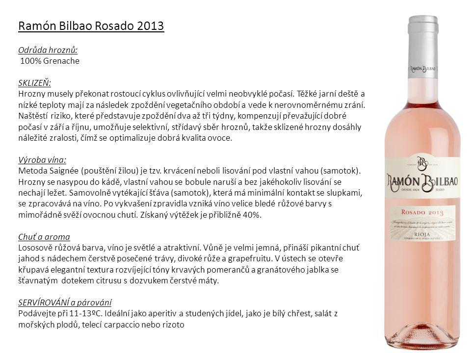 Monte Blanco Ramón Bilbao 2013 Odrůda hroznů: 100% Verdejo SKLIZEŇ: V roce 2012 byl vegetativní cyklus velmi horký, po chladné a suché zimě, velmi málo déšťů na jaře 2013 vleklo vodní deficit z loňského roku.