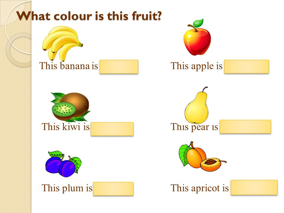 What colour is this fruit? This banana is yellow. This apple is red. This kiwi is green. This pear is yellow. This plum is blue. This apricot is orang
