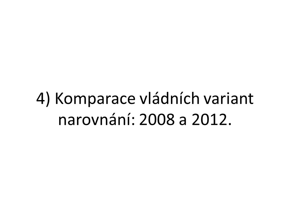 4) Komparace vládních variant narovnání: 2008 a 2012.