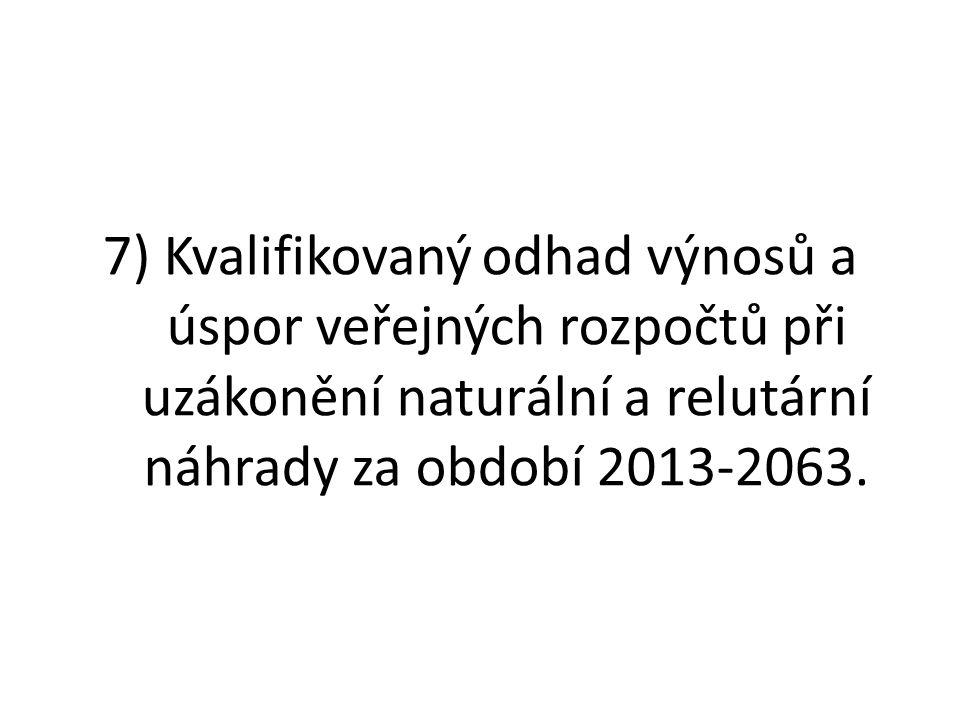 7) Kvalifikovaný odhad výnosů a úspor veřejných rozpočtů při uzákonění naturální a relutární náhrady za období 2013-2063.