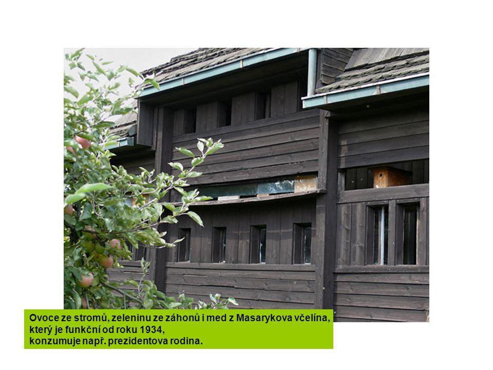 Ovoce ze stromů, zeleninu ze záhonů i med z Masarykova včelína, který je funkční od roku 1934, konzumuje např.