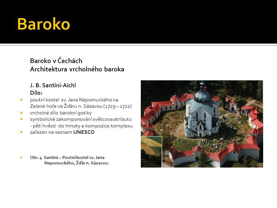 Baroko v Čechách Architektura vrcholného baroka J. B. Santini-Aichl Dílo:  poutní kostel sv. Jana Nepomuckého na Zelené hoře ve Žďáru n. Sázavou (171