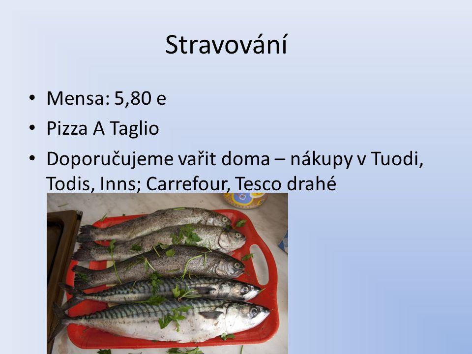 Stravování Mensa: 5,80 e Pizza A Taglio Doporučujeme vařit doma – nákupy v Tuodi, Todis, Inns; Carrefour, Tesco drahé