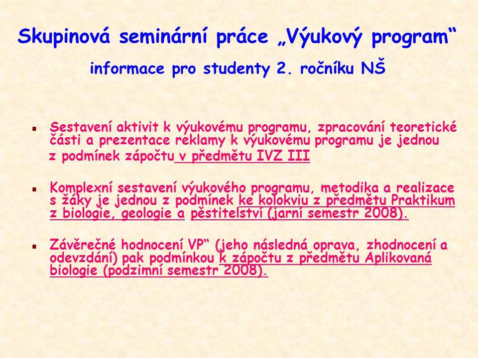 """Skupinová seminární práce """"Výukový program"""" informace pro studenty 2. ročníku NŠ n Sestavení aktivit k výukovému programu, zpracování teoretické části"""