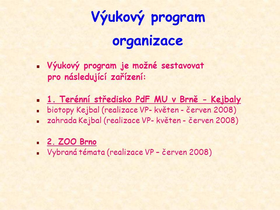 Výukový program organizace n Výukový program je možné sestavovat pro následující zařízení: n 1.