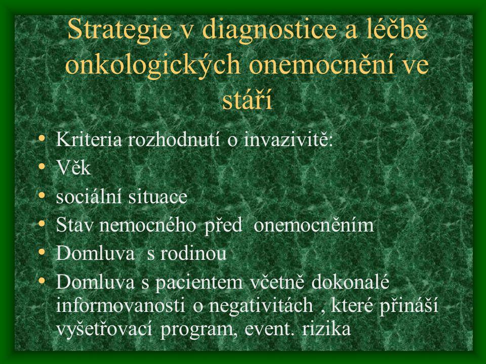 Strategie v diagnostice a léčbě onkologických onemocnění ve stáří Kriteria rozhodnutí o invazivitě: Věk sociální situace Stav nemocného před onemocněn