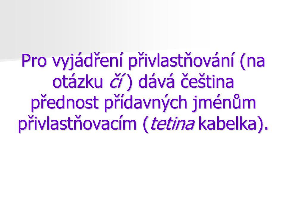 Pro vyjádření přivlastňování (na otázku čí ) dává čeština přednost přídavných jménům přivlastňovacím (tetina kabelka).