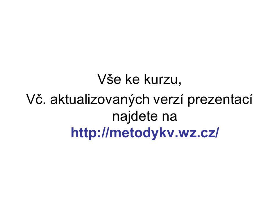 Vše ke kurzu, Vč. aktualizovaných verzí prezentací najdete na http://metodykv.wz.cz/