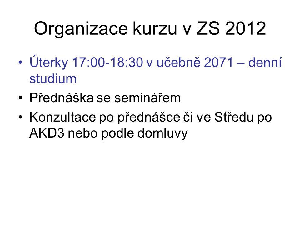 Organizace kurzu v ZS 2012 Úterky 17:00-18:30 v učebně 2071 – denní studium Přednáška se seminářem Konzultace po přednášce či ve Středu po AKD3 nebo podle domluvy