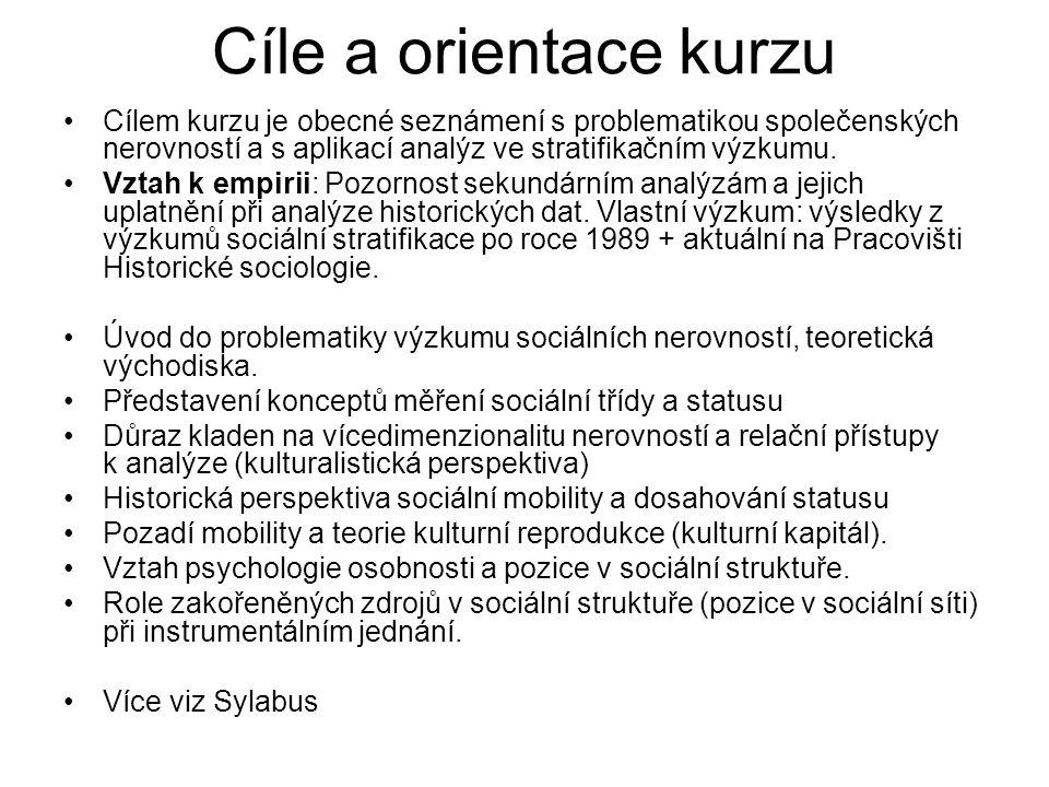 Tématické okruhy (1): Uvedení do problematiky sociální stratifikace.