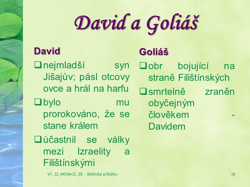 David a Goliáš Goliáš  obr bojující na straně Filištínských  smrtelně zraněn obyčejným člověkem - Davidem 10VY_32_INOVACE_05 - Biblické příběhy Davi
