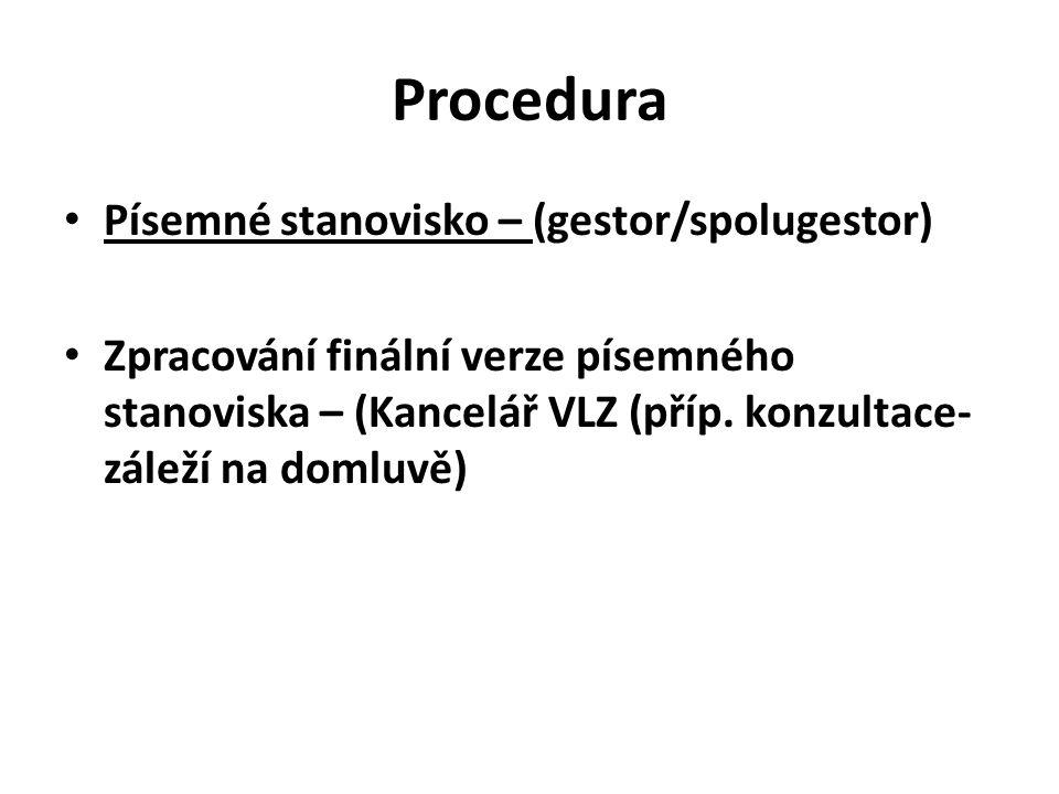 Procedura Písemné stanovisko – (gestor/spolugestor) Zpracování finální verze písemného stanoviska – (Kancelář VLZ (příp. konzultace- záleží na domluvě