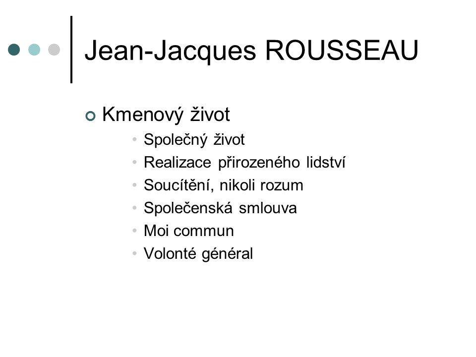 Jean-Jacques ROUSSEAU Kmenový život Společný život Realizace přirozeného lidství Soucítění, nikoli rozum Společenská smlouva Moi commun Volonté général