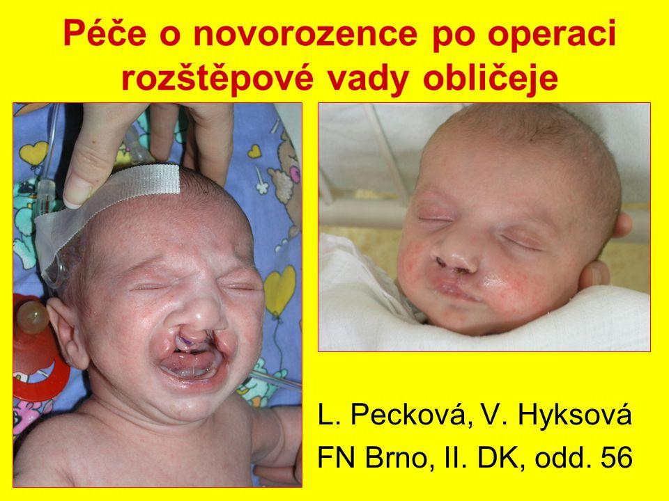 Péče o novorozence po operaci rozštěpové vady obličeje L. Pecková, V. Hyksová FN Brno, II. DK, odd. 56