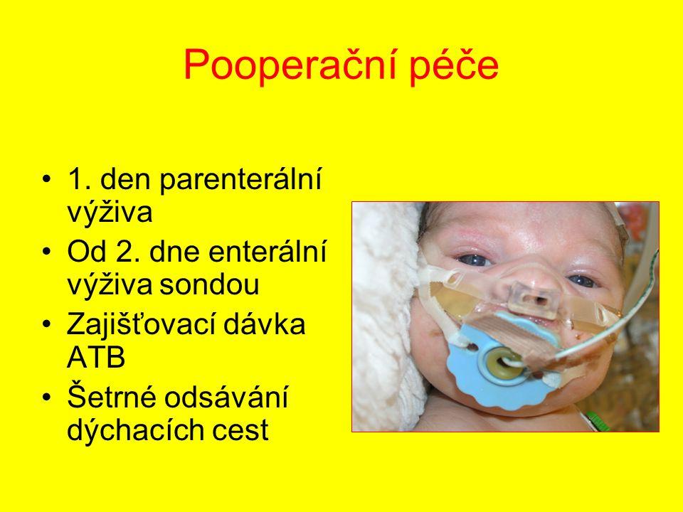 Pooperační péče 1. den parenterální výživa Od 2. dne enterální výživa sondou Zajišťovací dávka ATB Šetrné odsávání dýchacích cest