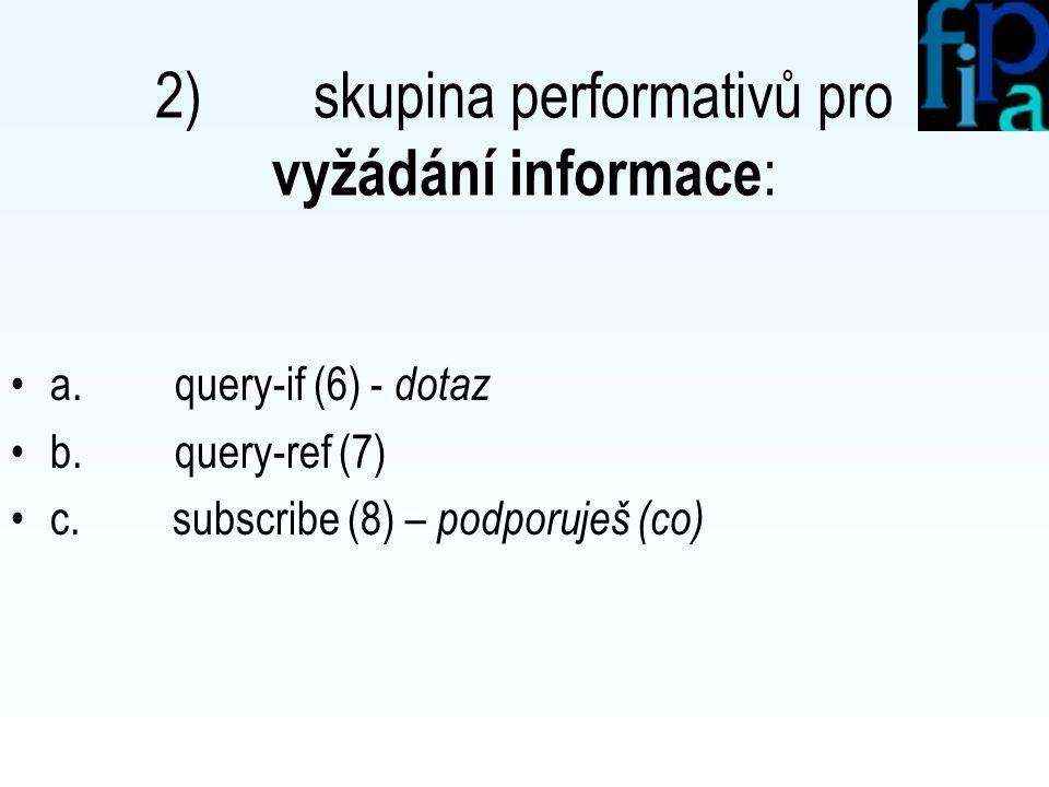 1) skupina performativů pro přenos informace : a. confirm (1) - potvrdit b. disconfirm (2) - popřít c. inform (3) - oznámit d. inform-if (4) – oznámit