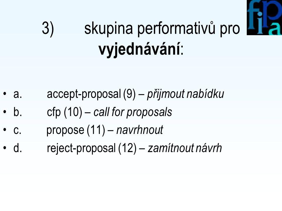 2) skupina performativů pro vyžádání informace : a.