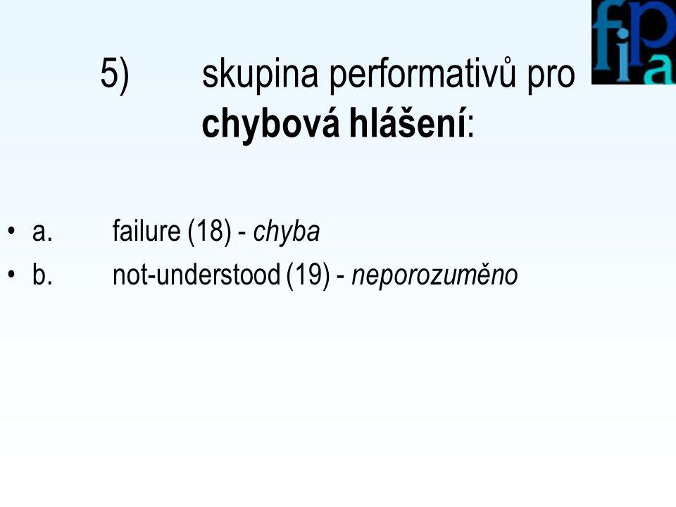 4) skupina performativů pro vykonání akce : a. agree (13) - schválení b.
