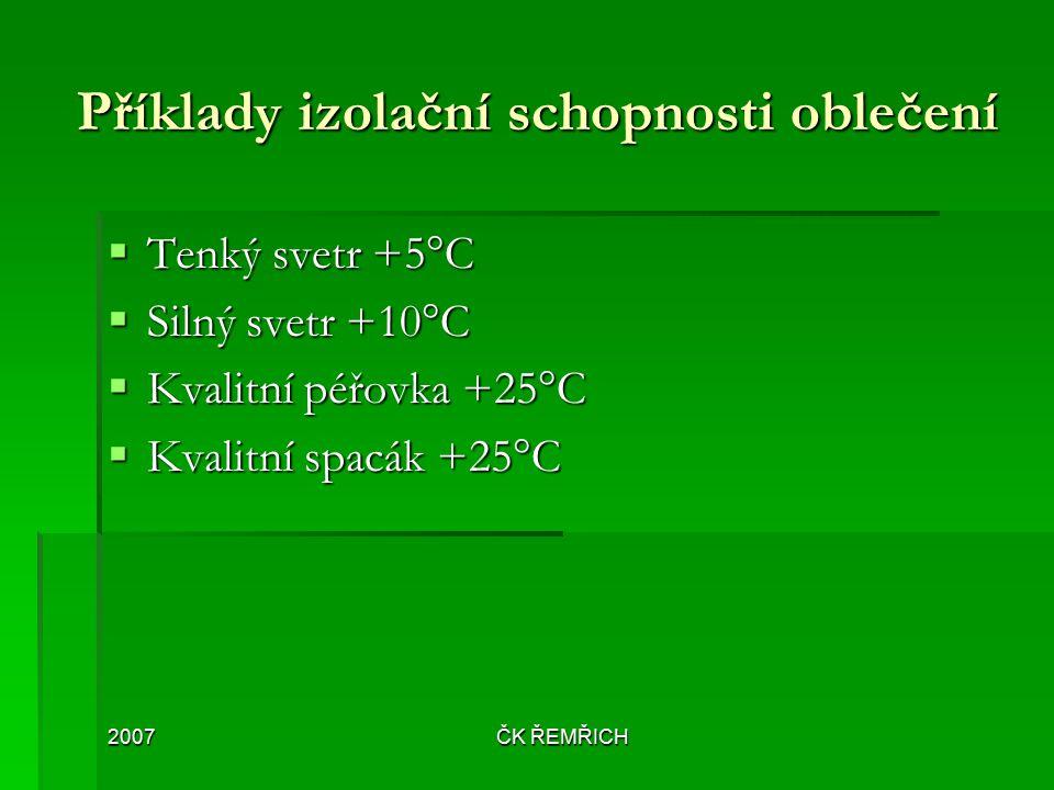 2007ČK ŘEMŘICH Příklady izolační schopnosti oblečení  Tenký svetr +5°C  Silný svetr +10°C  Kvalitní péřovka +25°C  Kvalitní spacák +25°C