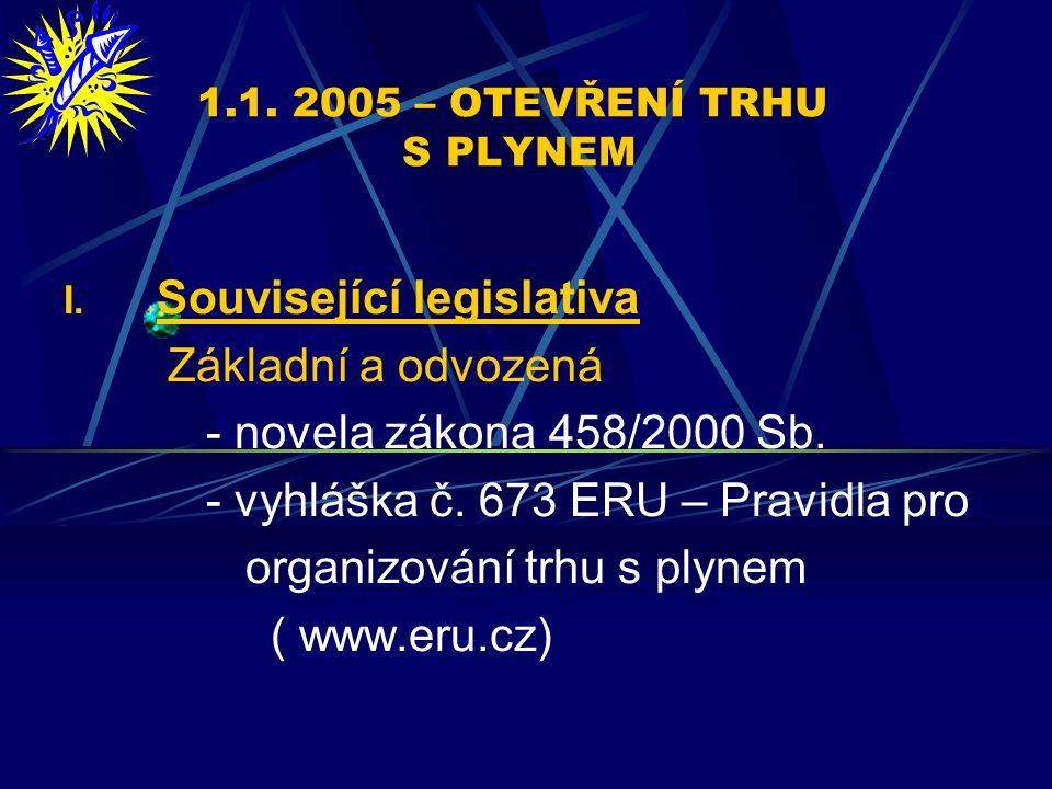1.1. 2005 – OTEVŘENÍ TRHU S PLYNEM I.