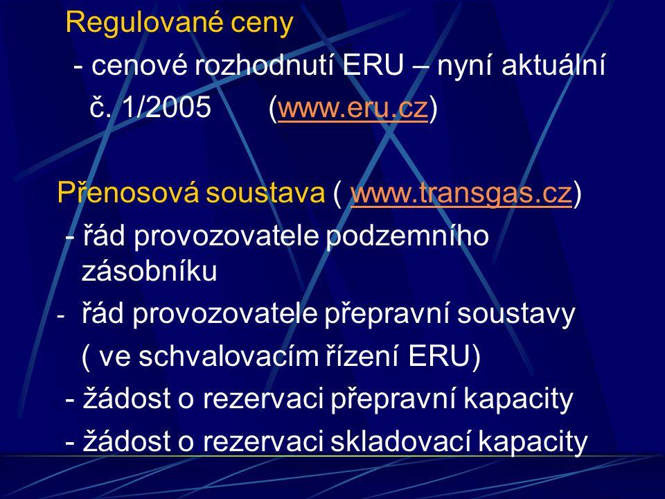 Regulované ceny - cenové rozhodnutí ERU – nyní aktuální č.