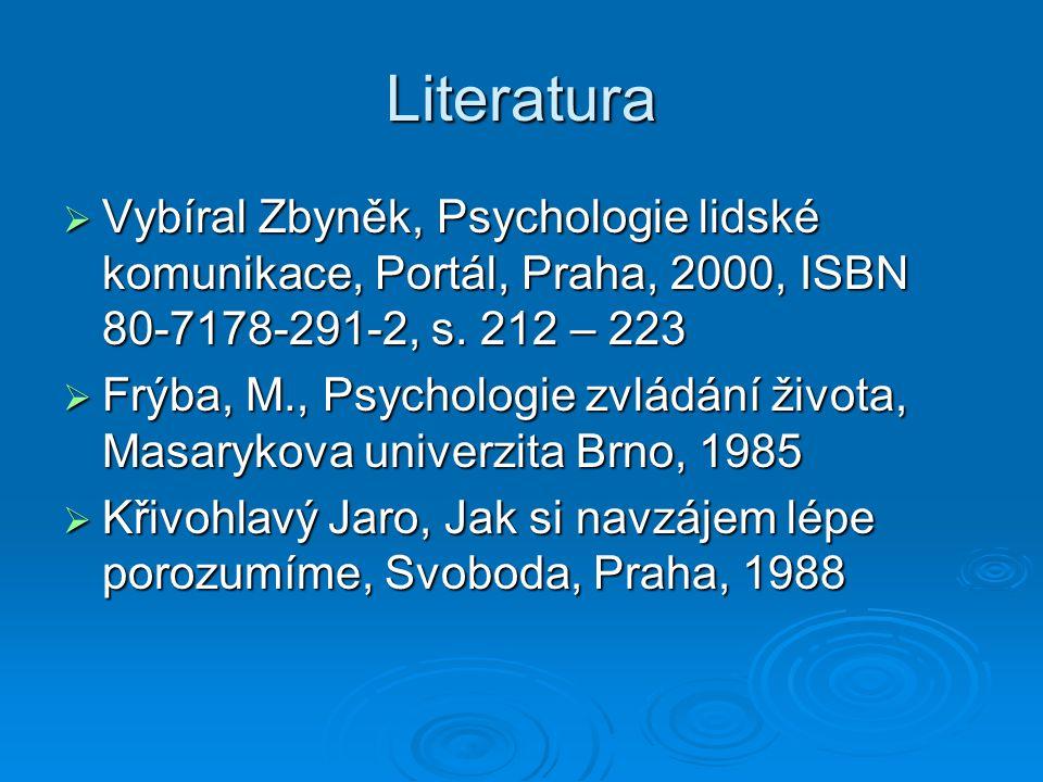 Literatura  Vybíral Zbyněk, Psychologie lidské komunikace, Portál, Praha, 2000, ISBN 80-7178-291-2, s. 212 – 223  Frýba, M., Psychologie zvládání ži