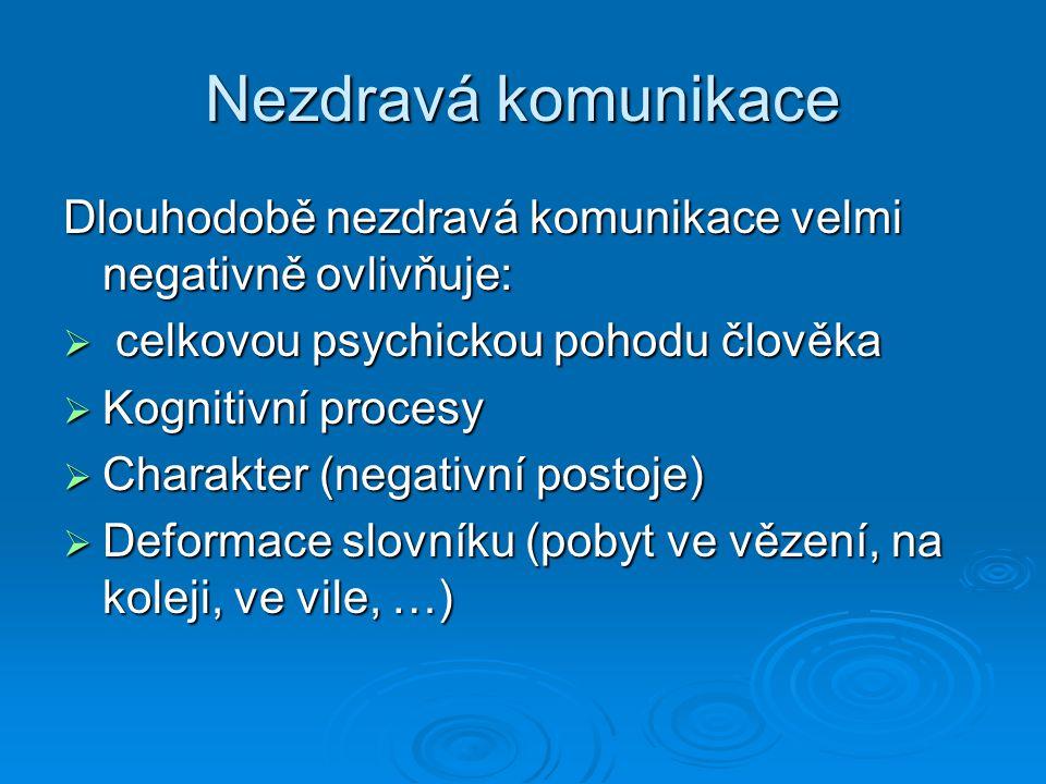 Nezdravá komunikace Dlouhodobě nezdravá komunikace velmi negativně ovlivňuje:  celkovou psychickou pohodu člověka  Kognitivní procesy  Charakter (n