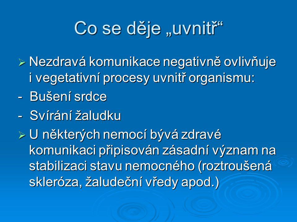 """Co se děje """"uvnitř""""  Nezdravá komunikace negativně ovlivňuje i vegetativní procesy uvnitř organismu: - Bušení srdce - Svírání žaludku  U některých n"""