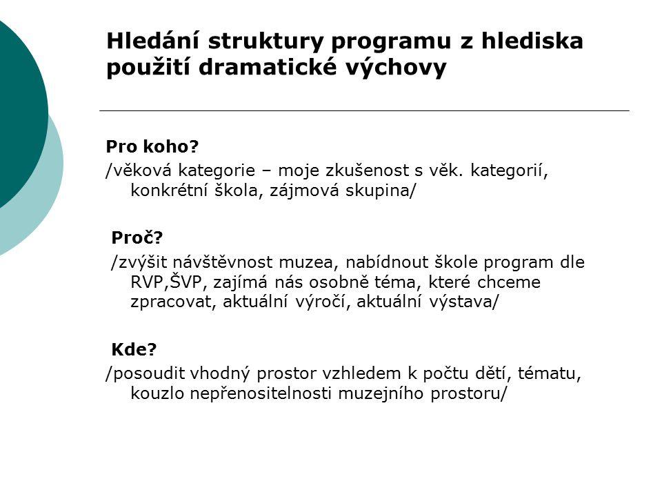 Hledání struktury programu z hlediska použití dramatické výchovy Pro koho? /věková kategorie – moje zkušenost s věk. kategorií, konkrétní škola, zájmo