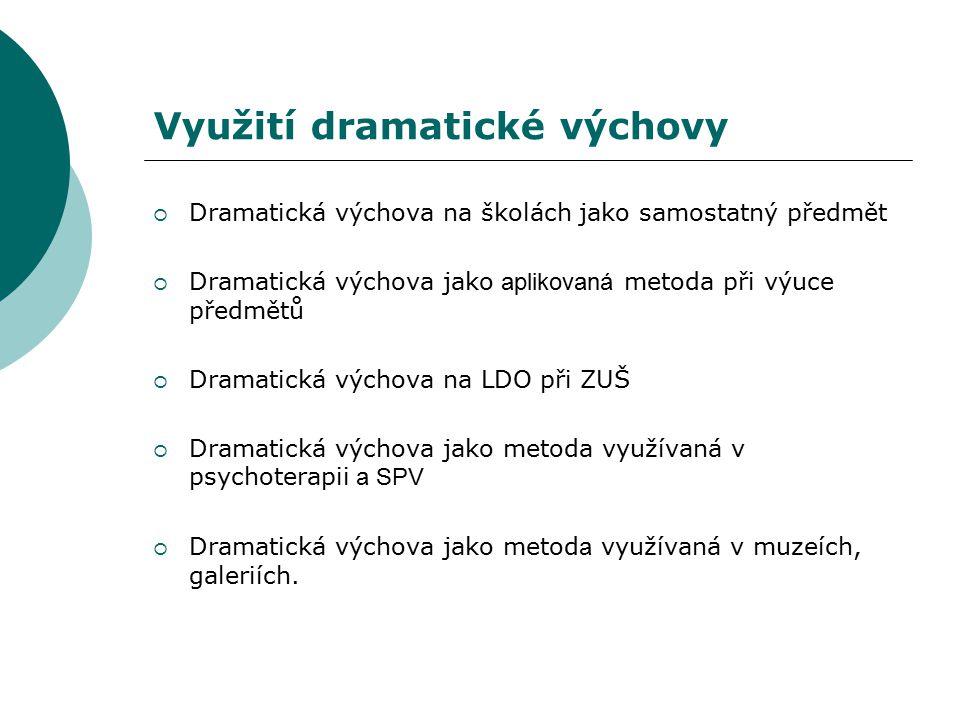 Využití dramatické výchovy  Dramatická výchova na školách jako samostatný předmět  Dramatická výchova jako aplikovaná metoda při výuce předmětů  Dr