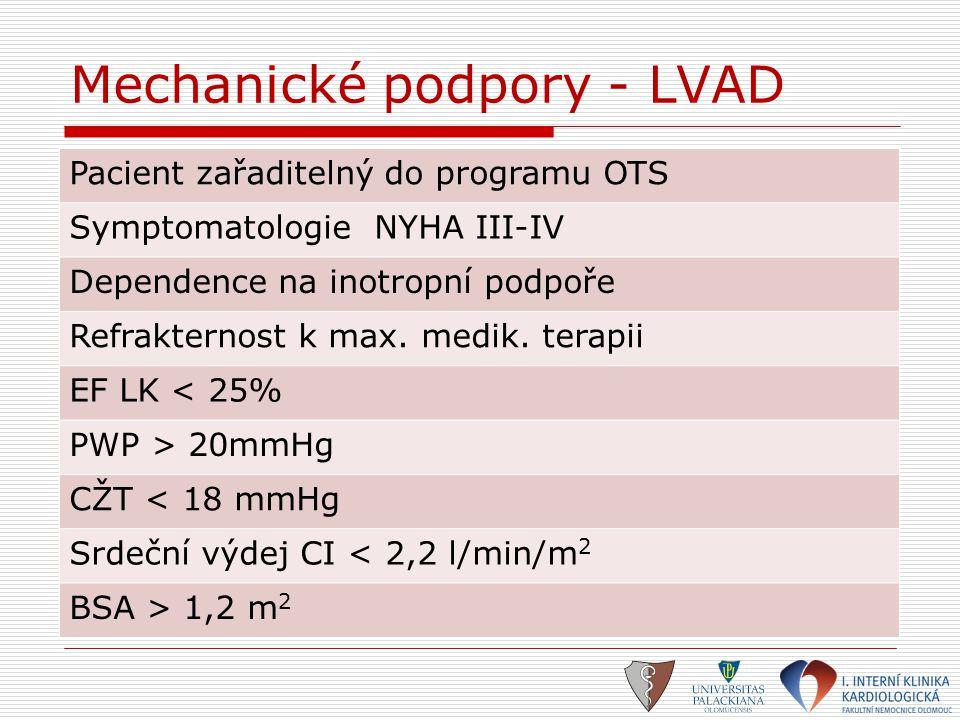 Mechanické podpory - LVAD Pacient zařaditelný do programu OTS Symptomatologie NYHA III-IV Dependence na inotropní podpoře Refrakternost k max. medik.