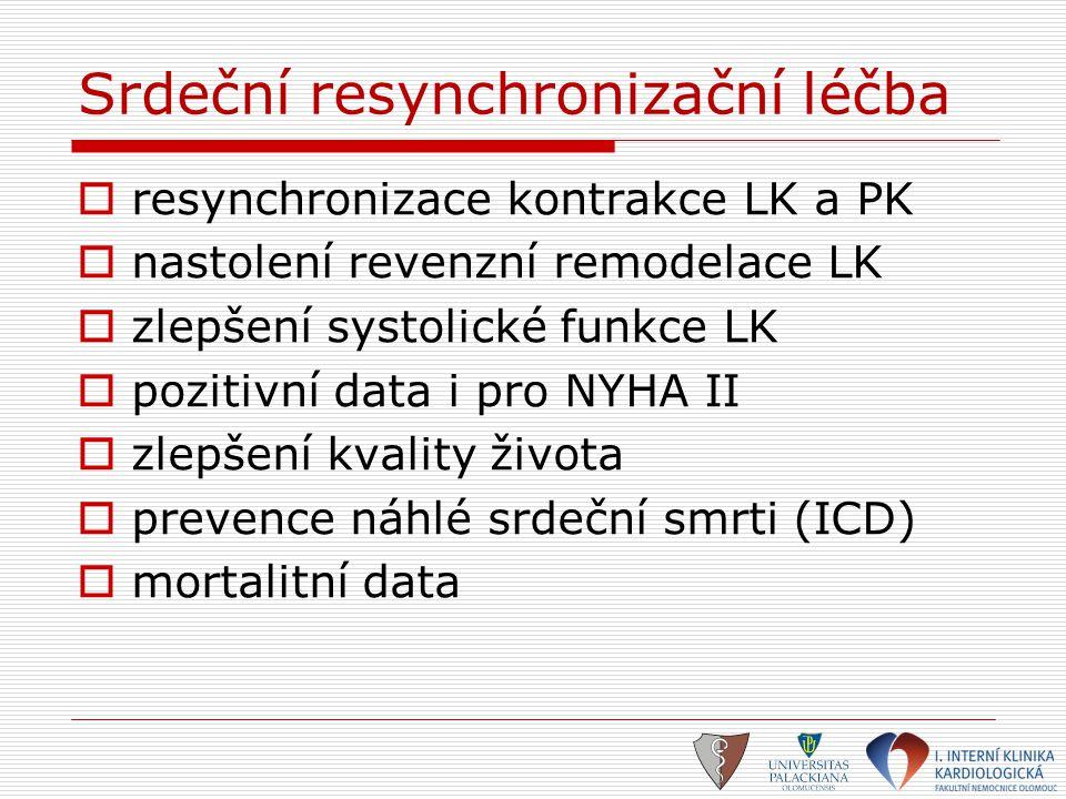 Srdeční resynchronizační léčba  resynchronizace kontrakce LK a PK  nastolení revenzní remodelace LK  zlepšení systolické funkce LK  pozitivní data