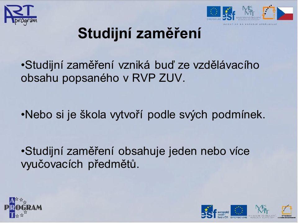 Studijní zaměření Studijní zaměření vzniká buď ze vzdělávacího obsahu popsaného v RVP ZUV.