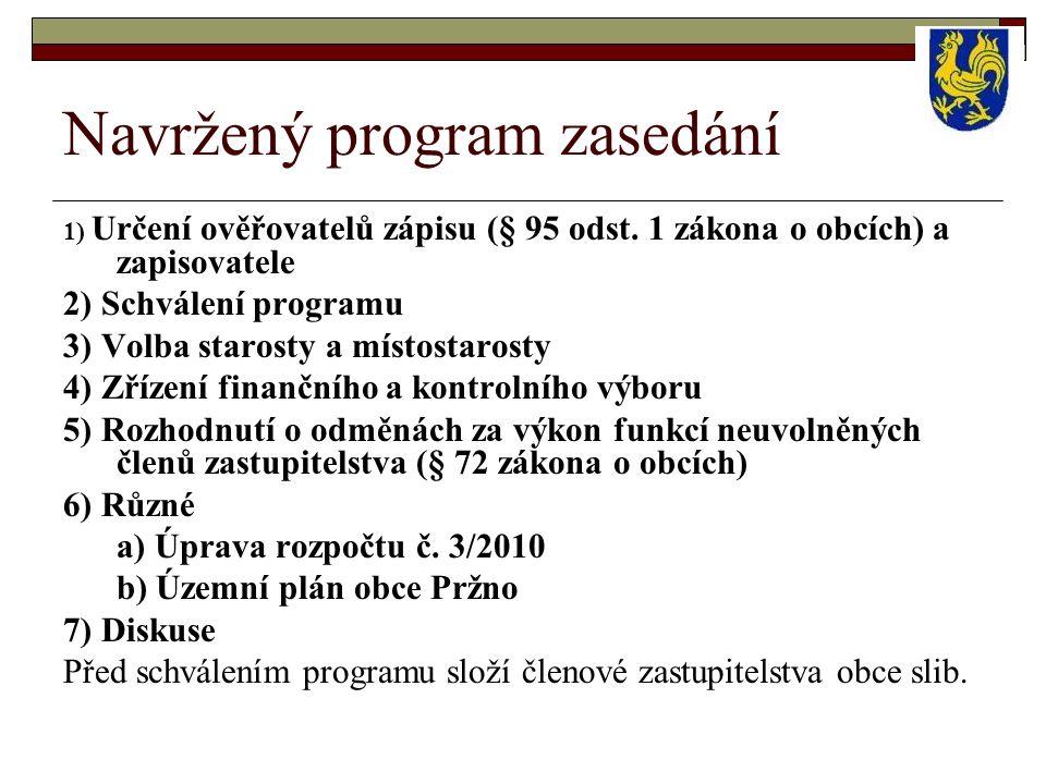 Navržený program zasedání 1) Určení ověřovatelů zápisu (§ 95 odst. 1 zákona o obcích) a zapisovatele 2) Schválení programu 3) Volba starosty a místost