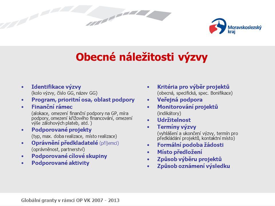Globální granty v rámci OP VK 2007 - 2013 Obecné náležitosti výzvy Identifikace výzvy (kolo výzvy, číslo GG, název GG) Program, prioritní osa, oblast