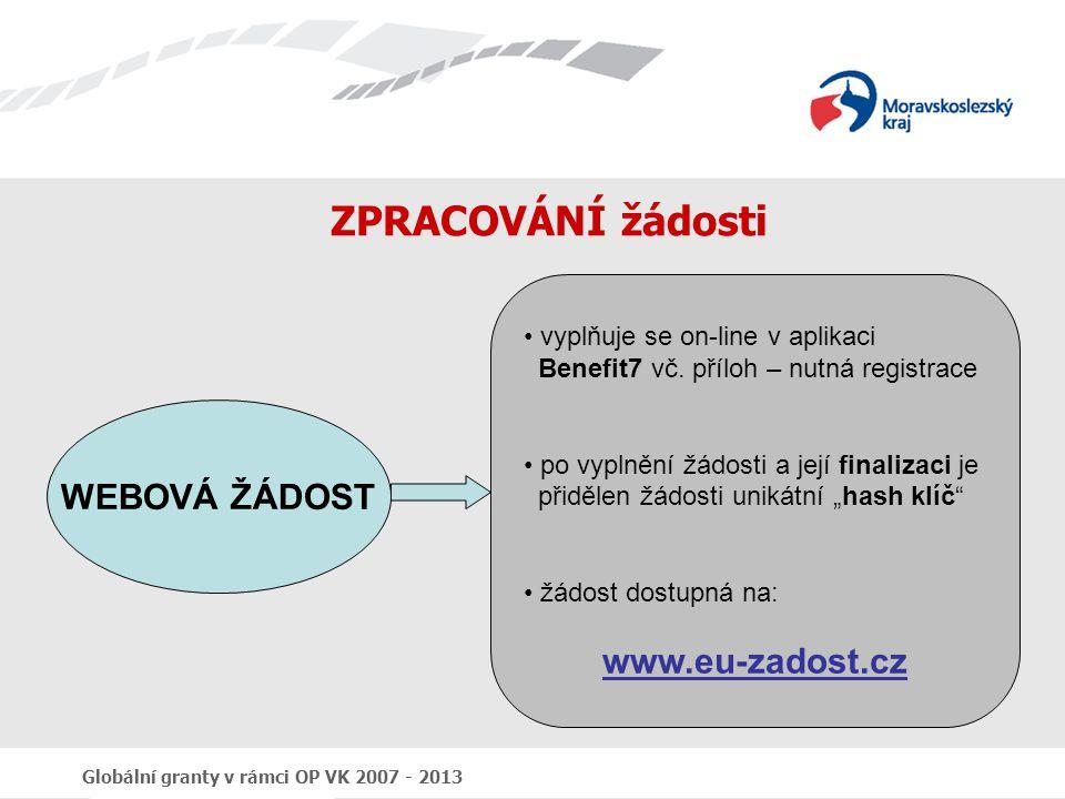 Globální granty v rámci OP VK 2007 - 2013 ZPRACOVÁNÍ žádosti WEBOVÁ ŽÁDOST vyplňuje se on-line v aplikaci Benefit7 vč. příloh – nutná registrace po vy