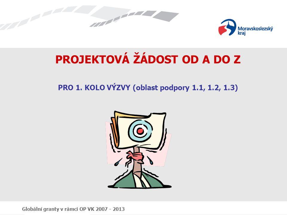 """Globální granty v rámci OP VK 2007 - 2013 Program prezentace """"Projektová žádost od A do Z 1.Předrealizační fáze grantových projektů 2.Výzva k předkládání žádostí o finanční podporu z OP VK 3.Obecné náležitosti výzvy 4.Zpracování žádosti 5.Obsah žádosti 6.Benefit7 7.Předkládání žádosti 8."""