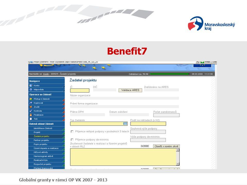 Globální granty v rámci OP VK 2007 - 2013 Benefit7