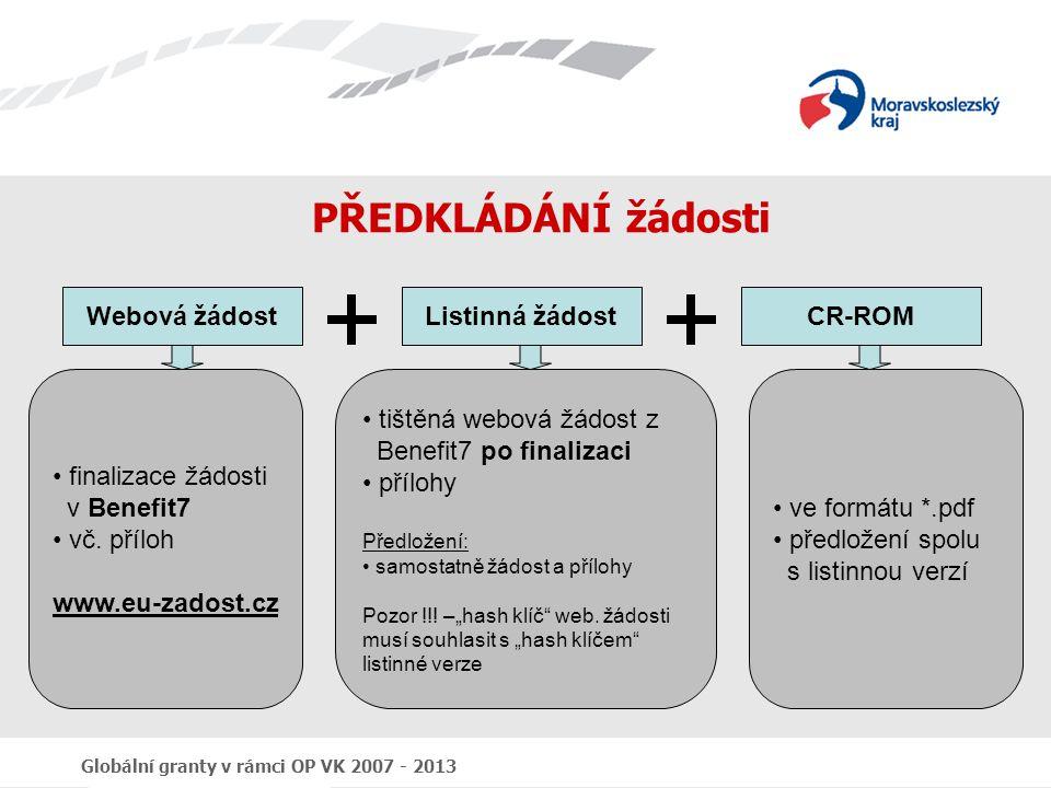 Globální granty v rámci OP VK 2007 - 2013 PŘEDKLÁDÁNÍ žádosti Webová žádostListinná žádostCR-ROM finalizace žádosti v Benefit7 vč. příloh www.eu-zados
