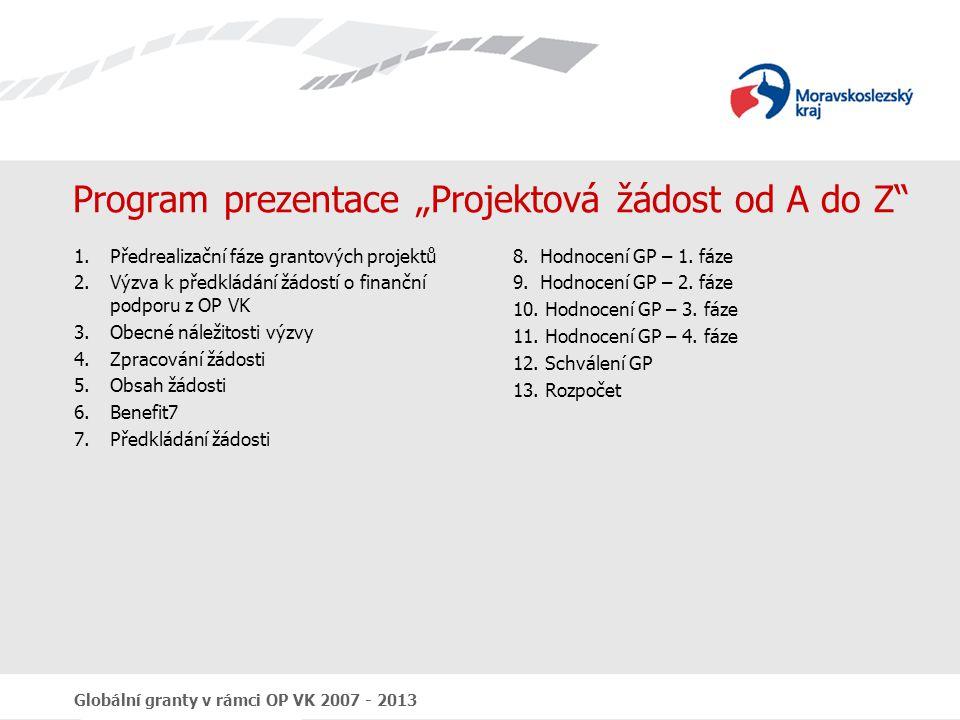Globální granty v rámci OP VK 2007 - 2013 Harmonogram čerpání Uvádí se zde částky předpokládaných způsobilých výdajů prokázaných žadatelem za monitorovací období realizace jak žadatele tak i partnerů;  Předpokládaná požadovaná částka – předpokládaná částka způsobilých výdajů projektu za určité období  Datum předložení žádosti o platbu – termín, kdy se budou předkládat žádosti o platbu (prokázání výdajů vynaložených za předchozí období); interval předkládání žádostí – 3 měsíční; datum první platby cca 3 měsíce od účinnosti Smlouvy o financování GP a datum poslední platby max.